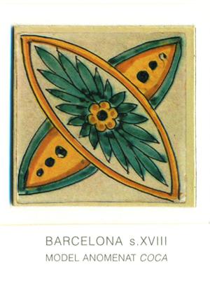 """Iman del model de rajola anomenat """"coca"""". Barcelona, segles XVIII"""