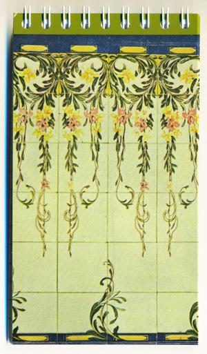 Llibreta de 14 x 8cm amb l'arrambador núm. 17 del catàleg de la fàbrica Pujol i Bausis.