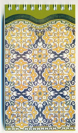 Llibreta de 14 x 8cm amb l'arrambador núm. 30 del catàleg de la fàbrica Pujol i Bausis.